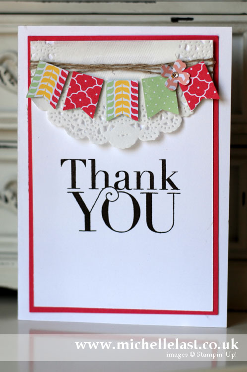 Thank you card using Stampin Up Banner Punch
