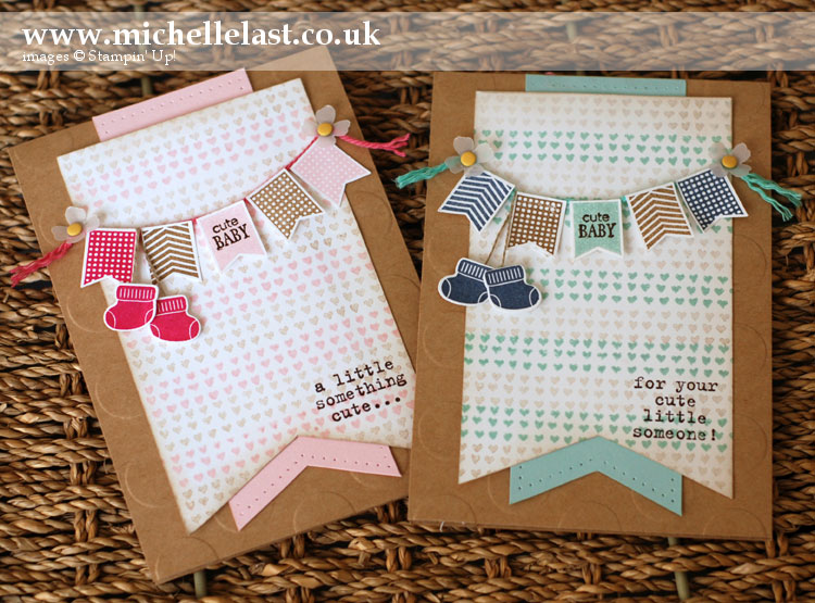 baby-cards using Banner Banter from stampin up