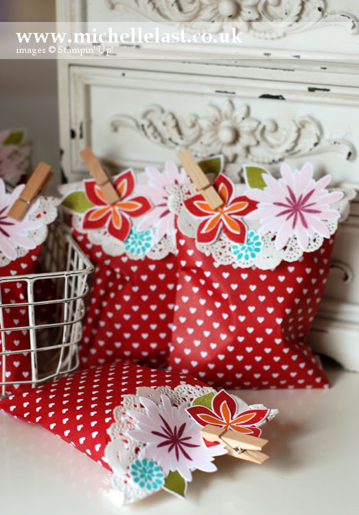 treat bags using stampin up flower patch