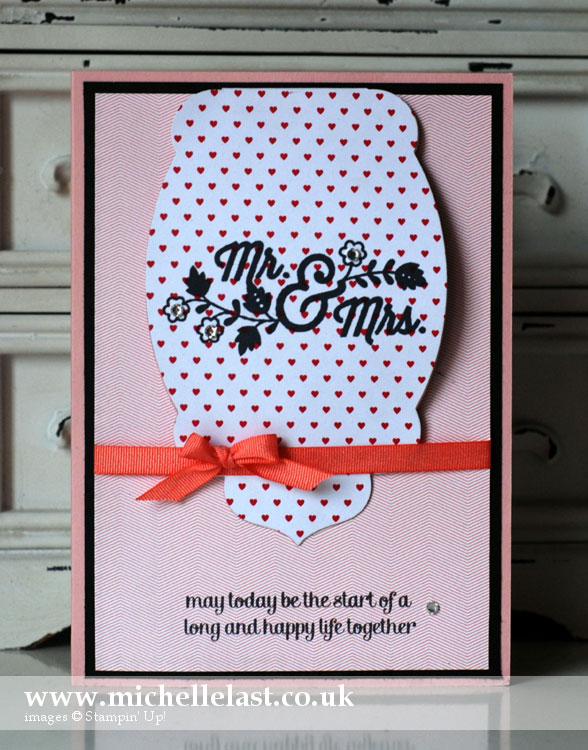 Handmade wedding card using stampin up supplies