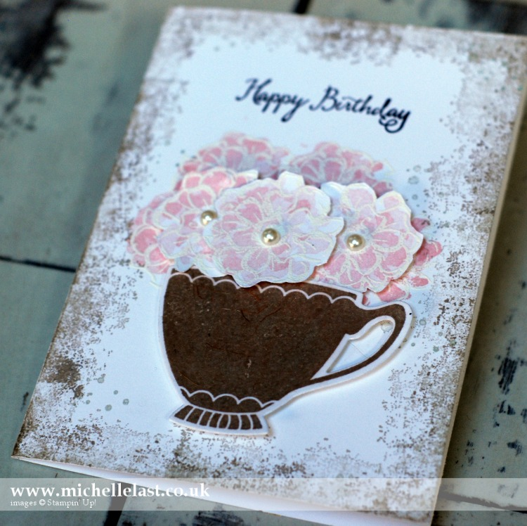 Cup of flowers using What I Love free from Stampin Up