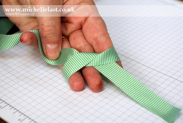 Ribbon Knot using Stampin Up striped ribbon