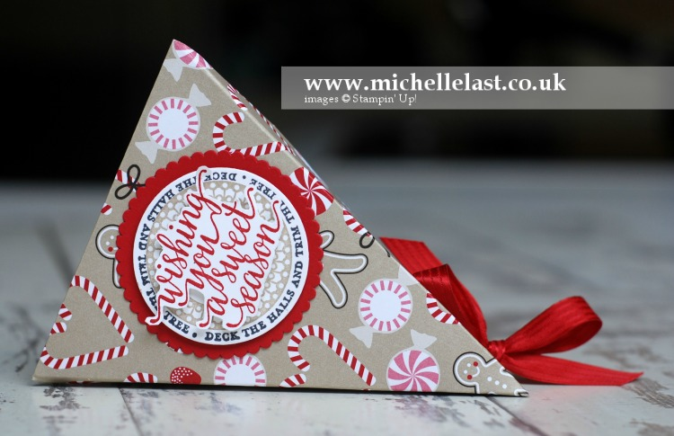Triangle Box using Candy Cane Lane DSP from Stampin Up