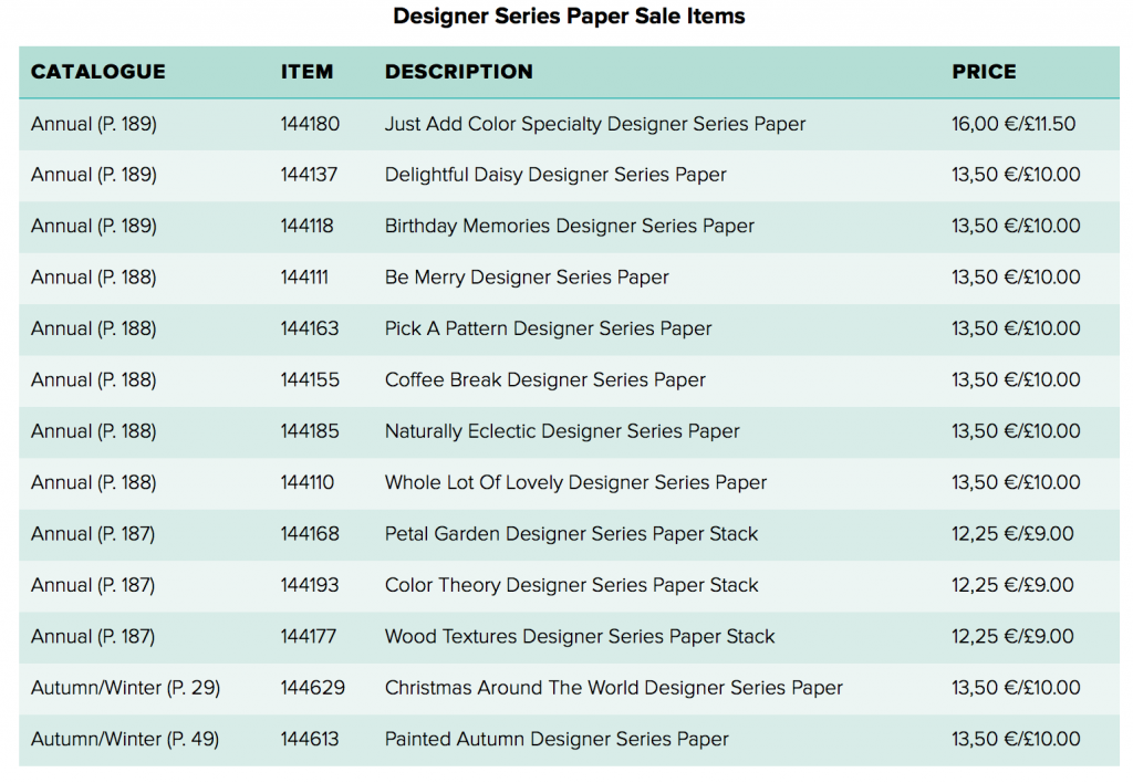 Designer Series Paper Sale from Stampin Up