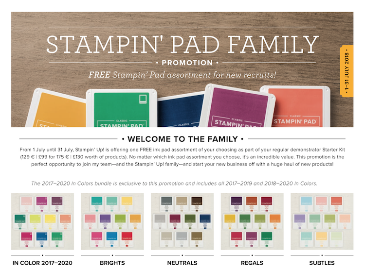 Join Stampin Up and get 10 ink pads free!