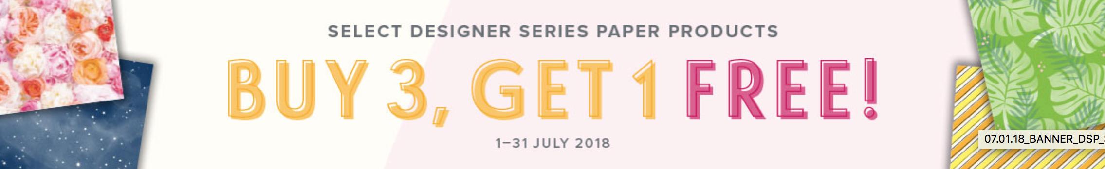 Stampin Up Designer Series Paper free in July