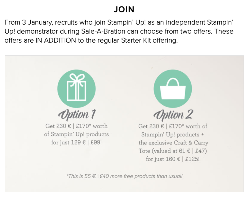 Stampin Up Starter Kit during Sale-a-bration