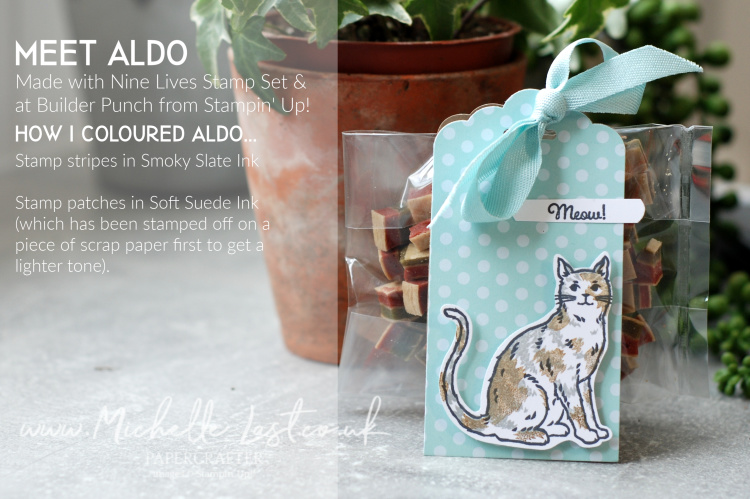 Hand stamped cat using Nine Lives