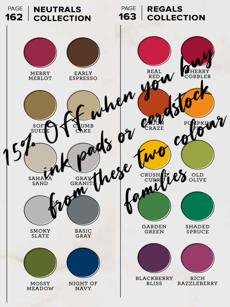 15% off ink pads and cardstock from Stampin Up