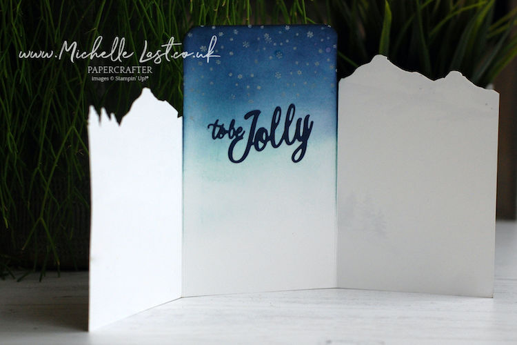 Tri fold card made using Snow Front from Stampin Up