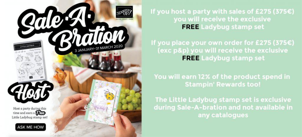 Stampin Up Hostess Little Ladybug Stamp set