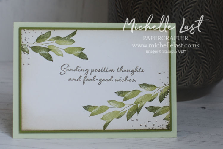 Green foliage card with a positive message
