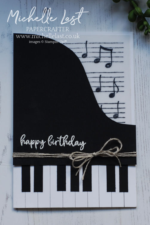 Handmade piano card using Stampin up supplies