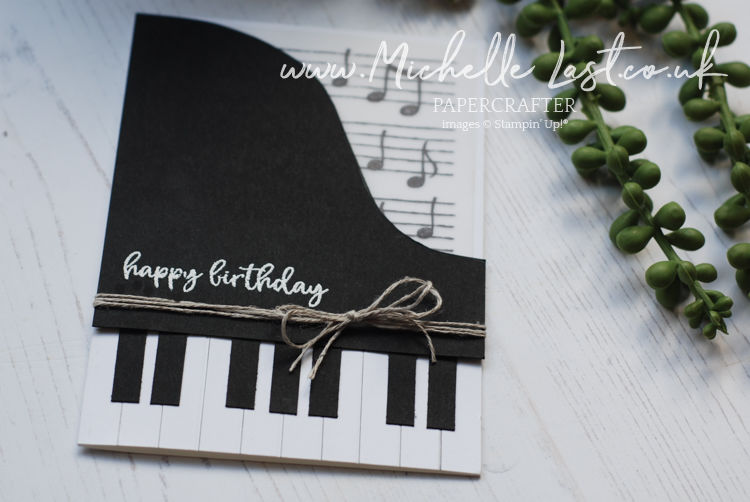 Handmade card made to look like a piano