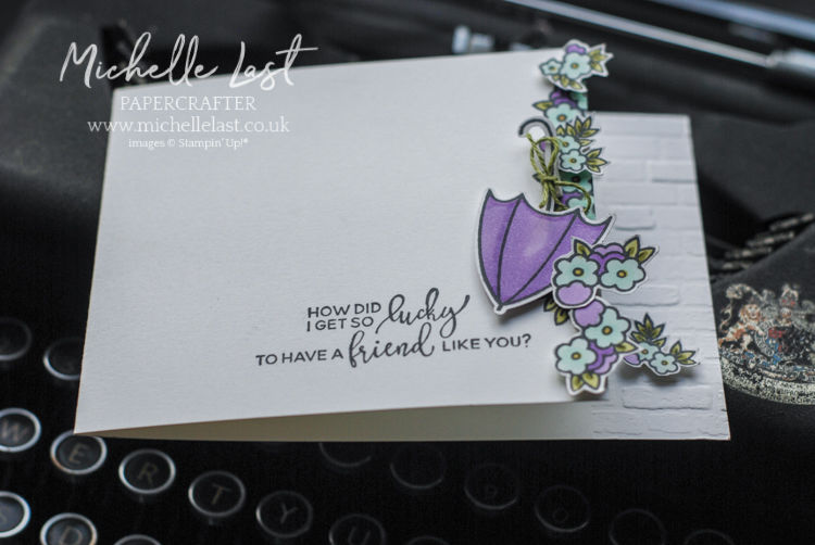 Pretty card for a friend with flowers and umbrella