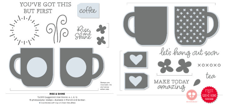 Stamp set with mug images