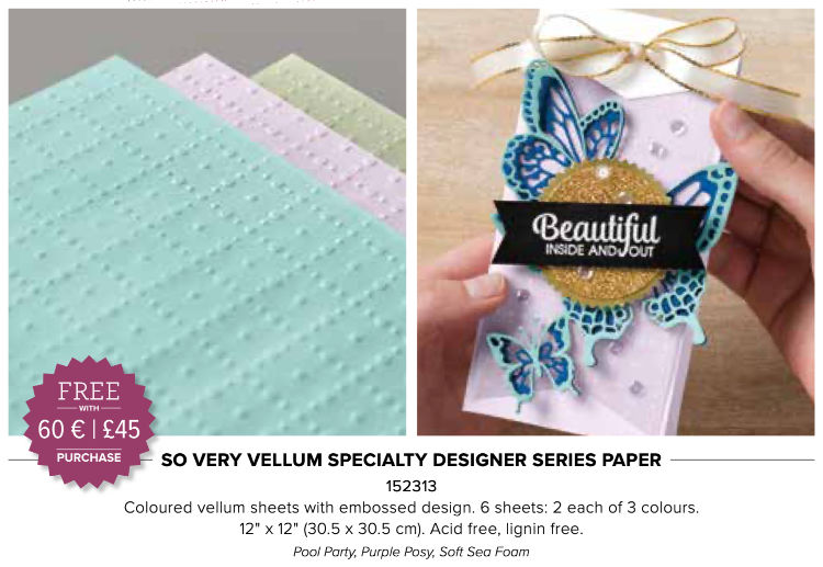 vellum embossed and coloured paper