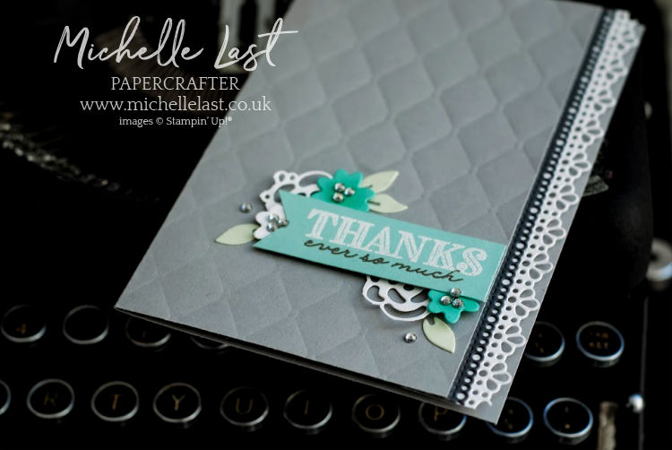 Thank you card with rhinestone bling
