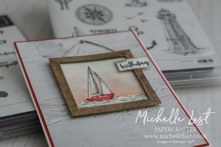 handmade card featuring a watercolored Sailboat