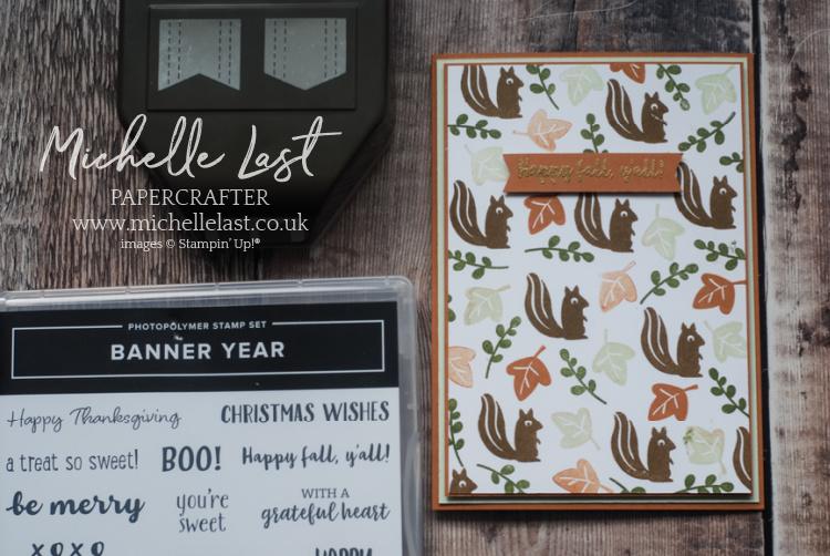 Handstamped card with squirrels