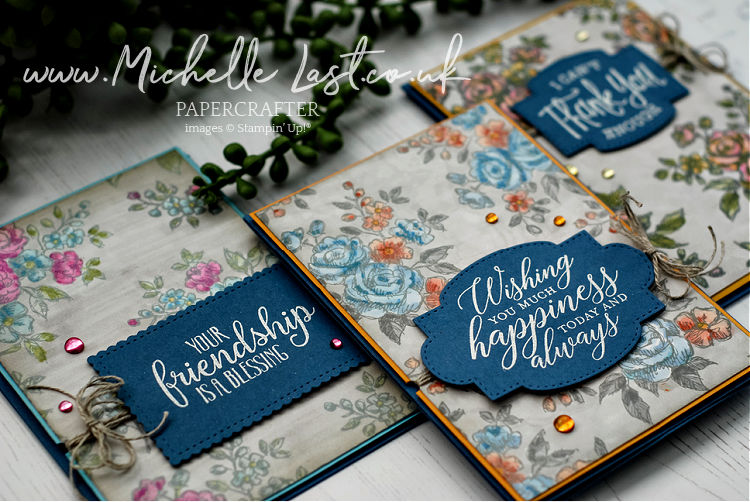Hand stamped cards made to look like fabric