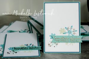 Christmas cards made using Snowflake Splendor