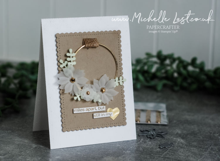card made with flower and wreath dies
