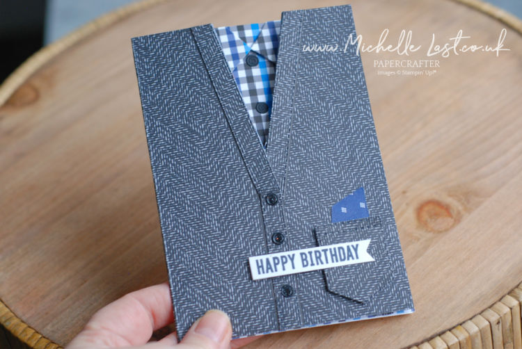 Card for men made to look like a cardigan