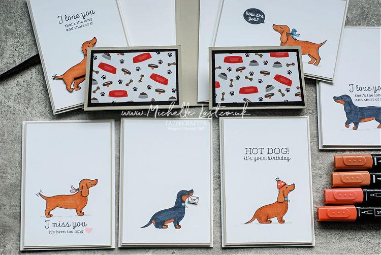 Sausage dogs on handmade cards