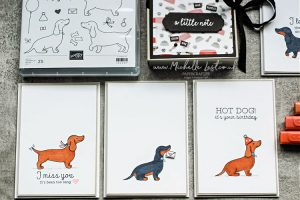 Handmade cards with a sausage dog on the front