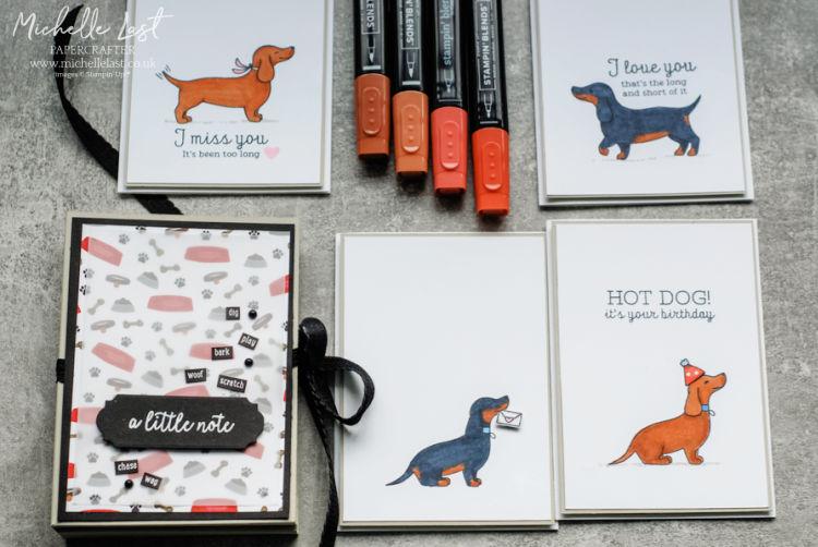 Sausage dog stamps and box