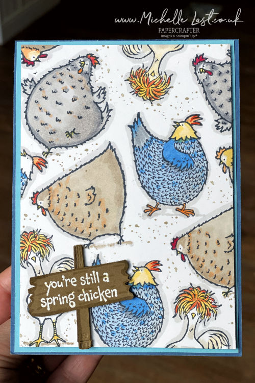 Stamped Chickens on a birthday card