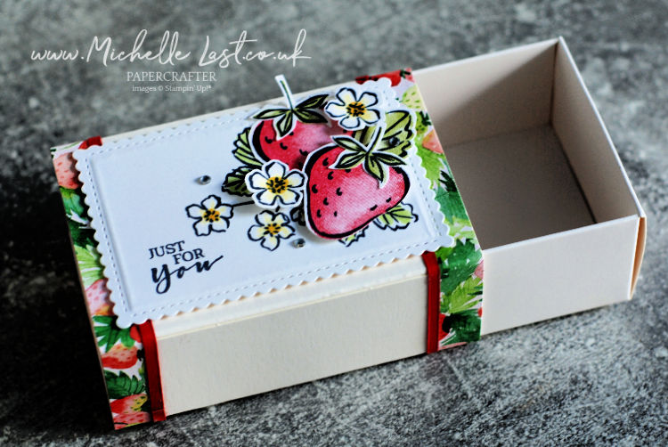Card and box made with a strawberry theme