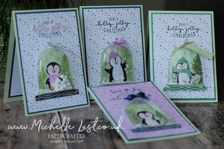 Christmas cards made using penguin paper